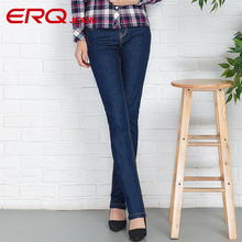 ERQ Women Jeans Cotton Pencil jeans Fashion jeans femme Mid Waist Woman Slim Fit skinny jeans woman Full Length 902027