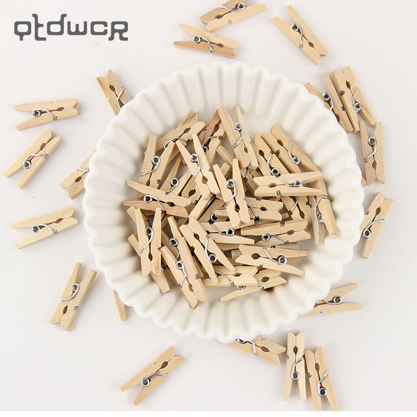 90PCS/Lot Wooden Natural Clip Pack Of Small Wedding Natural Clips High Quality Office Supplies
