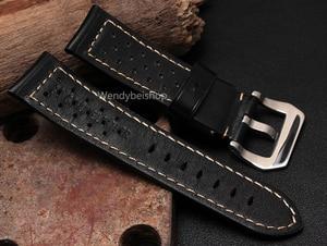 Image 5 - CARLYWET 22 24 26 мм оптовая продажа, черные коричневые настоящие кожаные старинные часы ремешок с матовой пряжкой для радиометра