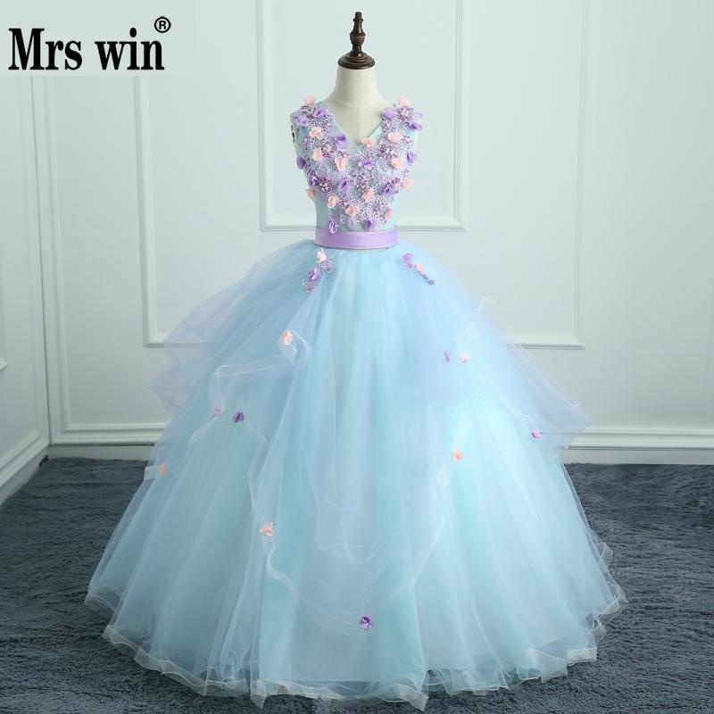 Dressy Dresses For Girls 2018 Handmade Embroidery Flowers Debutante Gowns Peals Butterfly V-neck Ball Gown Quinceanera Dresses