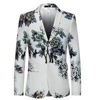 الأزياء الأبيض السترة الرجال 2017 يتأهل زهرة نمط الأزهار سترة عالية الجودة عارضة الذكور سترة بروم الحلل M-5XL