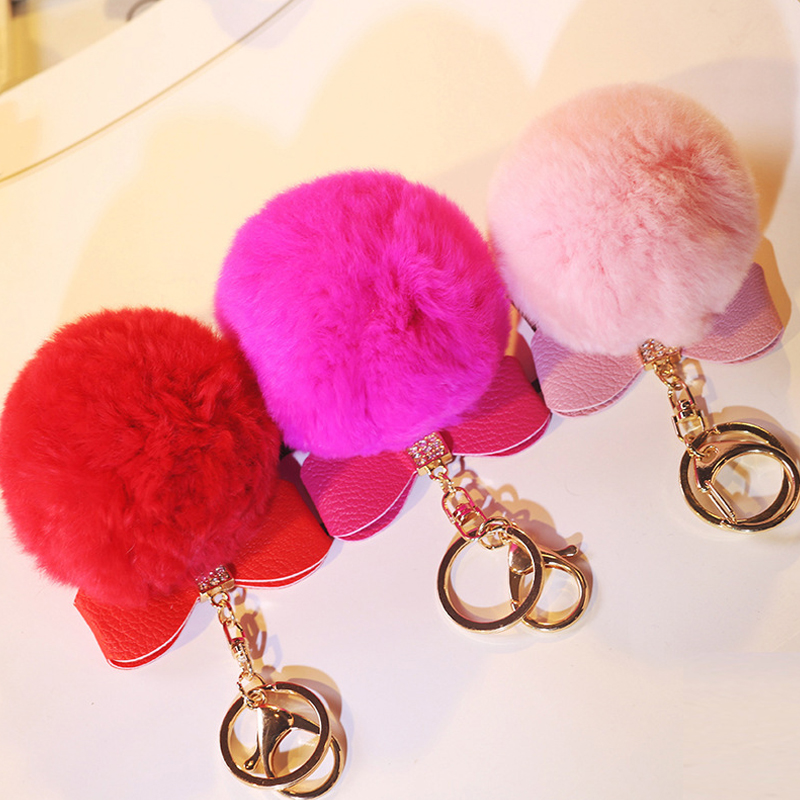 Fashion Ture Rabbit Fur Bow Tie Keychain Ball PomPom Cell Phone Car Keychain Pendant Bag Gold Metal Buckle Charm Key Ring Gift