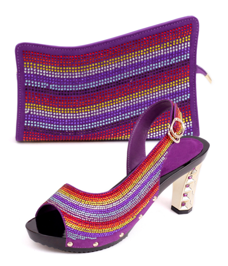 ФОТО Italian shoes and matching bag,ladies shoes and bags with New design for Genuine leather in Elegant purple size38-43 GZ15-905