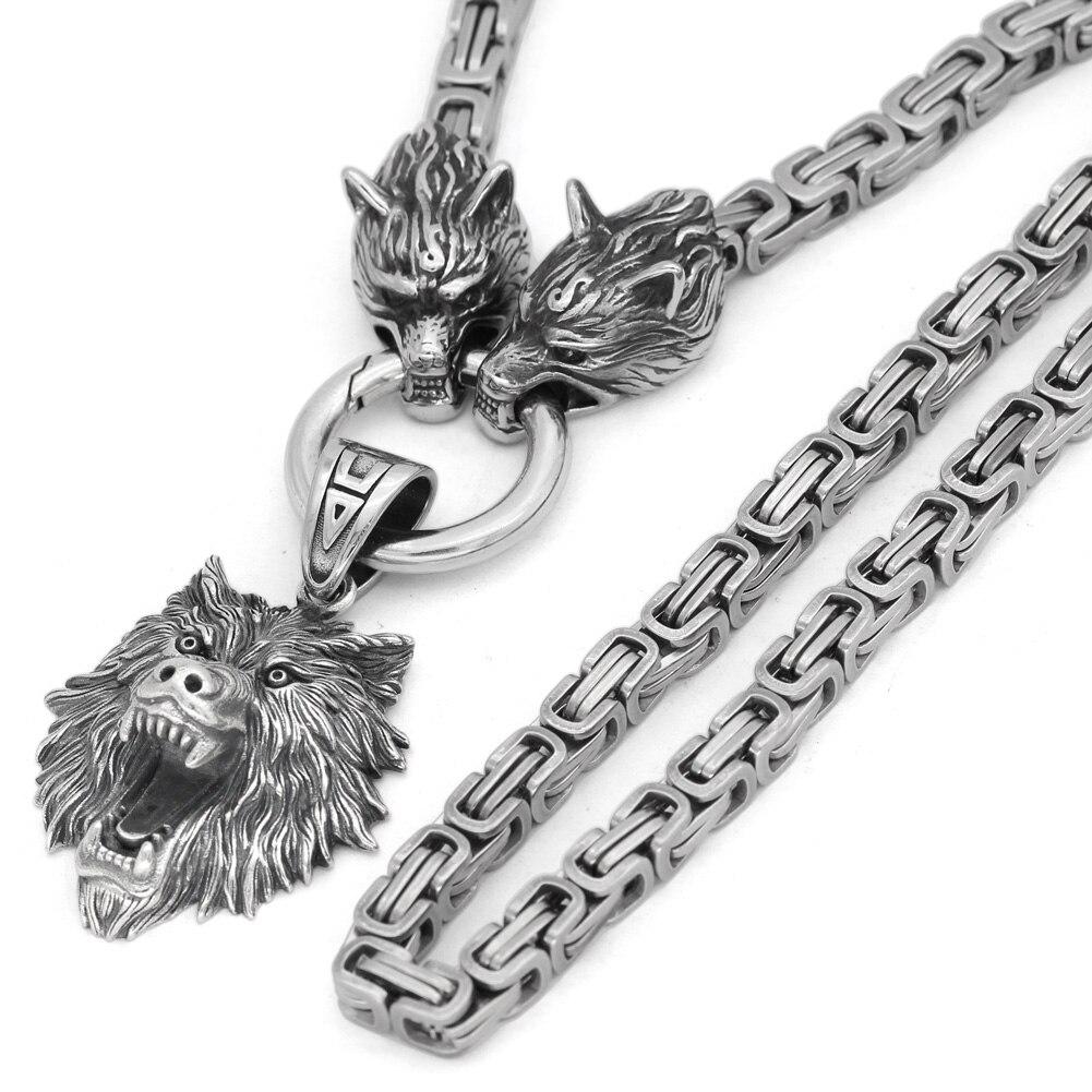 Men/'s Vintage Silver Norse Viking Odin Celtic  Wolf/&Crow Axe Pendant Necklace
