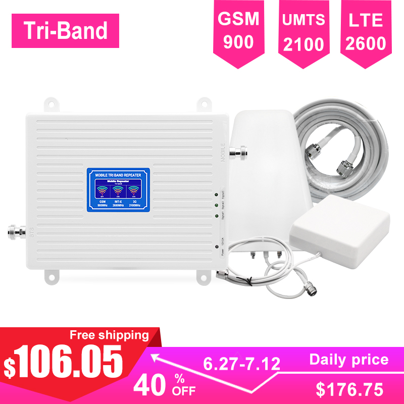 LTE 2G 3G 4G Cellular Signal For Mobile Phone Booster Kit Triband GSM Repeater LTE 2600mhz 900mhz UMTS 2100mhz LDPA Antenna -