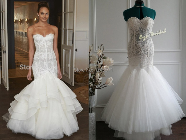 Lace Mermaid Wedding Dress Sexy Off The Shoulder Sleeveless Trumpet