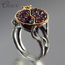 CANNER Vintage Red Crystal Rings Women Antique Silver Color Wedding 2019 New Fashion Party Jewelry Bague Femme Finger Ring