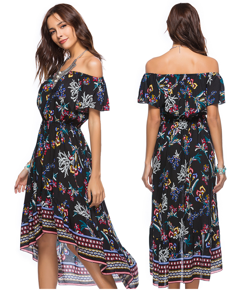 Women Summer Off Shoulder Bohemian Dress Boho Mid-Calf Wrap Dresses Casual Loose Beach Floral Print Beachwear Vestidos 13