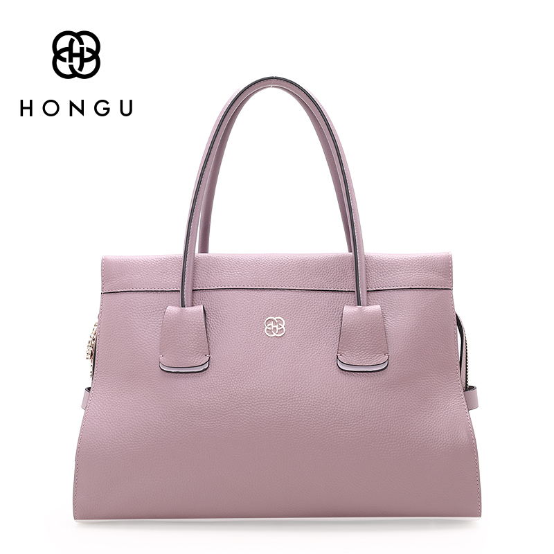 HONGU Fashion Handbags 100% Natural Genuine Leather Womens Top-handle Bags Female sac a main femme de marque luxe cuir 2017