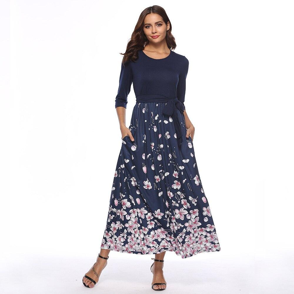 ddec5f68d74 Casual O Neck Maxi Dress Women Vintage Floral Print Long Sleeve Bandage Women  Dress Elegant Office