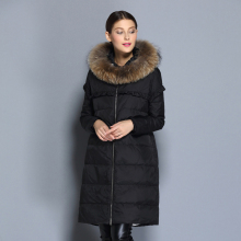 2016 new  winter Thicken Warm woman Down jacket Coat Parkas Outerwear Hooded Raccoon Fur collar long plus size Luxury Straight
