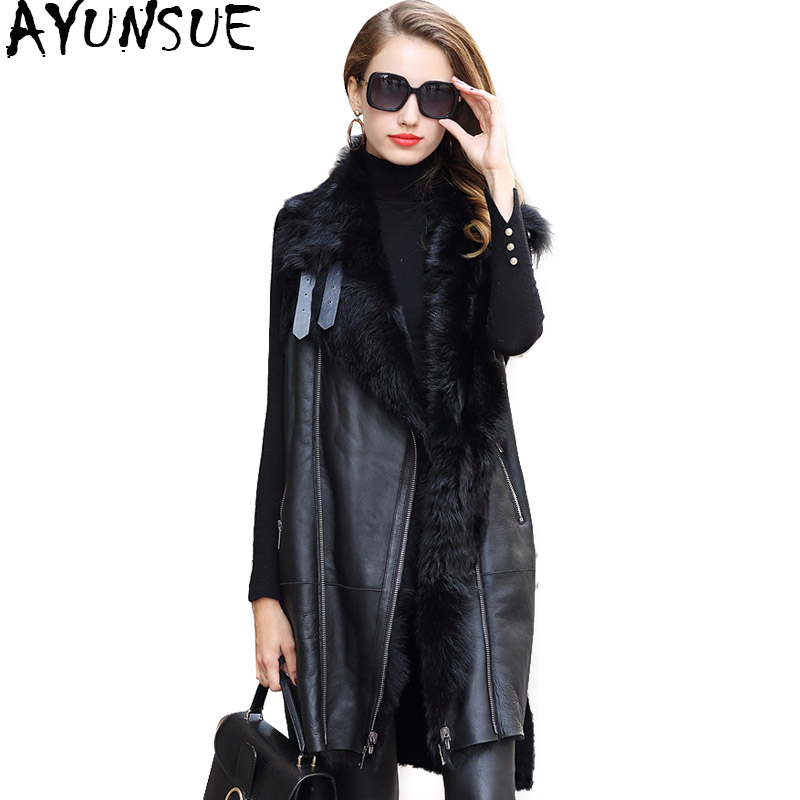 AYUNSUE Long peau de mouton en cuir véritable veste veste manteau de fourrure réelle femmes mouton fourrure doublure vestes hiver chaud manteaux femme ZQY7081