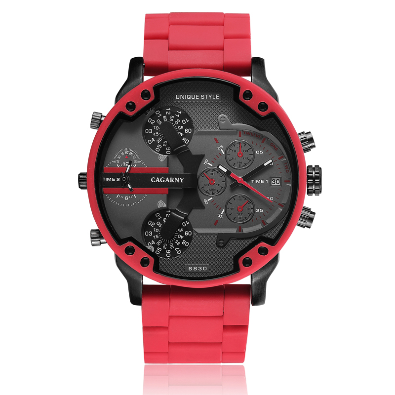 top luxury brand cagarny analog quartz watch for men two time zones auto date cool big case military watches red silicone band sports men's wristwatches dz dz7370 (5)