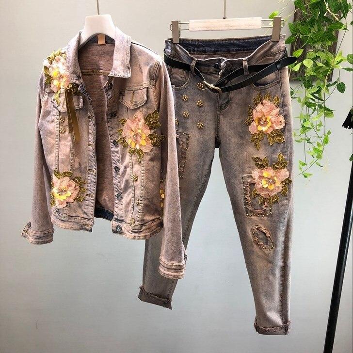 2019 Las Jeans Pantalones Elástico De Mujeres Lápiz Bordado Cintura Mezclilla Moda Agujero Casual Alta Negro Flor Primavera 44qU1S