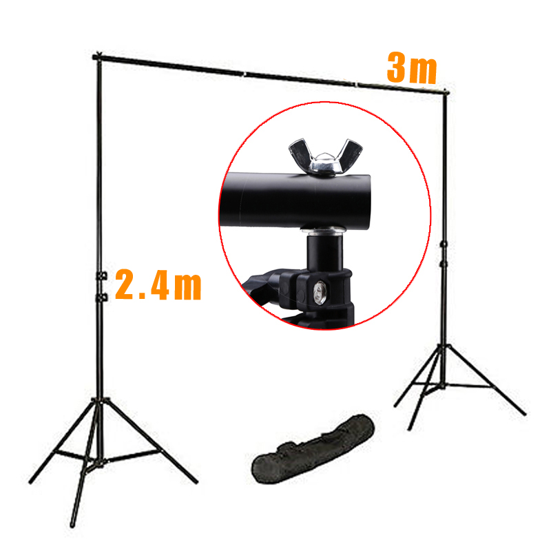 Pro Photography Studio Background Support System Kits 240cm Light Stand x2+75cm Cross Bar x4 Fotografia Photo Background S ashanks pro photography studio photo backdrops frame background support system 2m x 2 4m stands for photo shoot carry bag