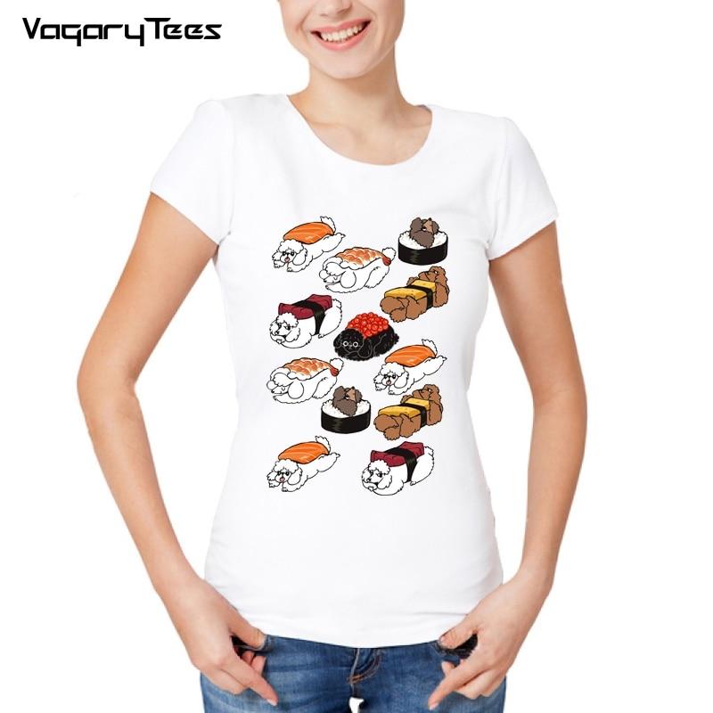 Verano Mochi Harajuku Kawaii Nuevo Gato Camisetas Sushi Camiseta sQrhtd