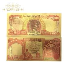 10pcs Lot Nice Iraq Gold Banknote 25 000 Dinar Banknotes In 24k Fake Money Art