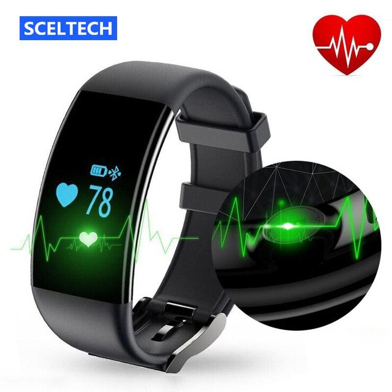 imágenes para SCELTECH Inteligente OLED Pulsera Bluetooth 4.0 IP68 Impermeable del monitor cardiaco deporte muñequera fuelband VS poco ajuste fitbits