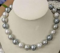Free Shopping 12mm Elegant White Silver Gray Shell Pearl Necklace 18 AAA