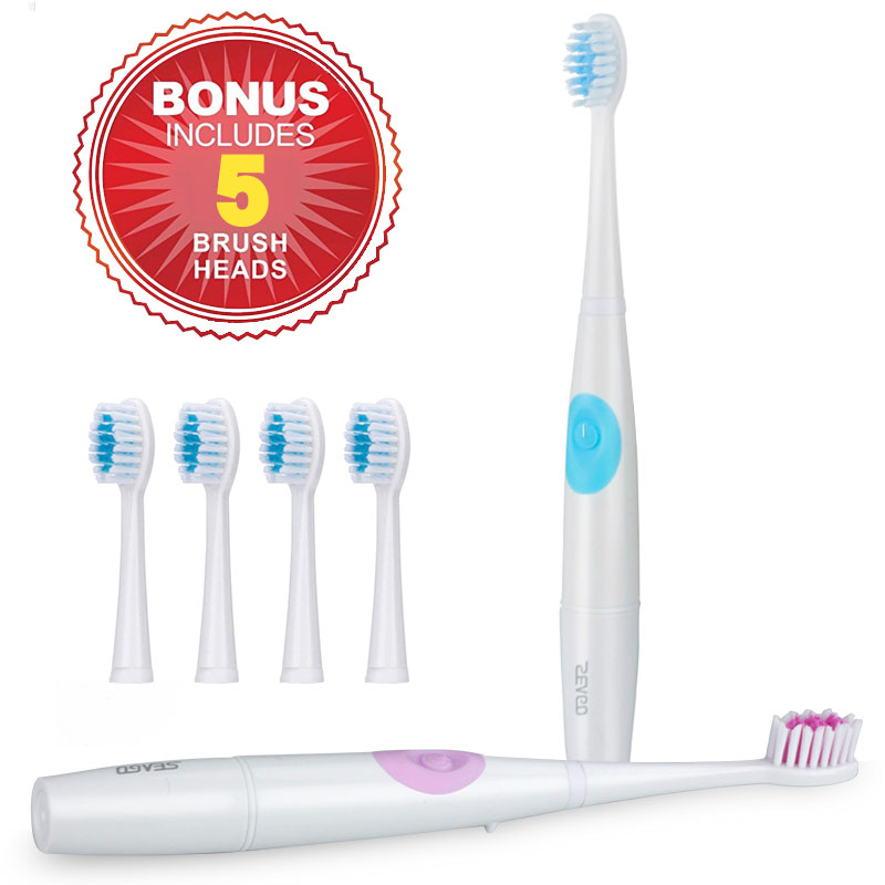 Waterproof Sonic Electric Toothbrush Adult Fashion Health Toothbrush Electric+ 5 Replacement Heads Deep Clean Tooth Brush sg-915 4pcs electric sonic replacement tooth brush heads for philips sonicare toothbrush heads dual soft bristles sensiflex hx2014