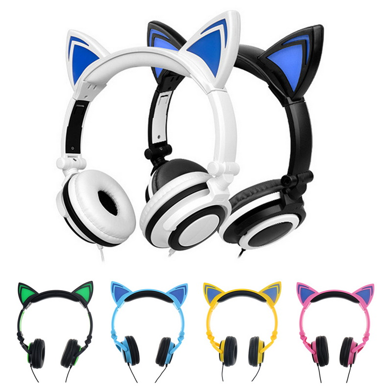 LED Cat Ear Wired Cute Headphone Big Gaming Luminous Earphone Headset With Mic For iPhone Samsung Computer Phone Headfone Girls g1100 3 5mm pro gaming headset headphone for ps4 laptop crack pattern led led blue black red white