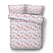 Flamingo Bedding sets bed cover sheet Luxury Cotton sheets 3D quilt duvet California King Queen size full twin 4pcs