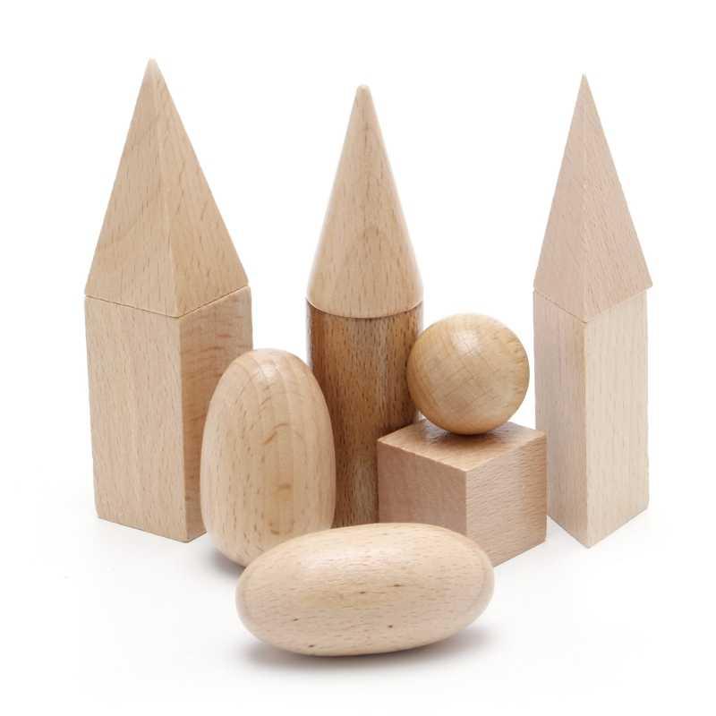 木製幾何ソリッド 3-D 形状モンテッソーリ学習リソース学校ホーム