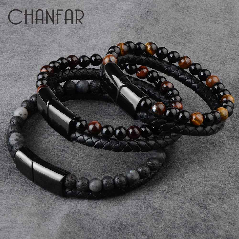 2020 Fashion Mannen Sieraden Natuursteen Lederen Armband Zwart Rvs Magnetische Sluiting Tijgeroog Kraal Armband Mannen