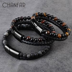 2020 Fashion Men Jewelry Natural Stone Genuine Leather Bracelet Black Stainless Steel Magnetic Clasp Tiger eye Bead Bracelet Men(China)