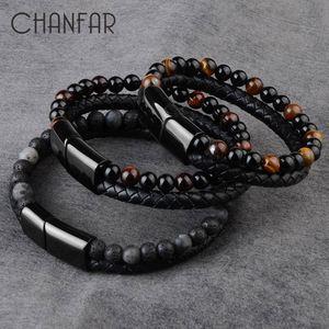 2020 Fashion Men Jewelry Natural Stone Genuine Leather Bracelet Black Stainless Steel Magnetic Clasp Tiger eye Bead Bracelet Men(China)