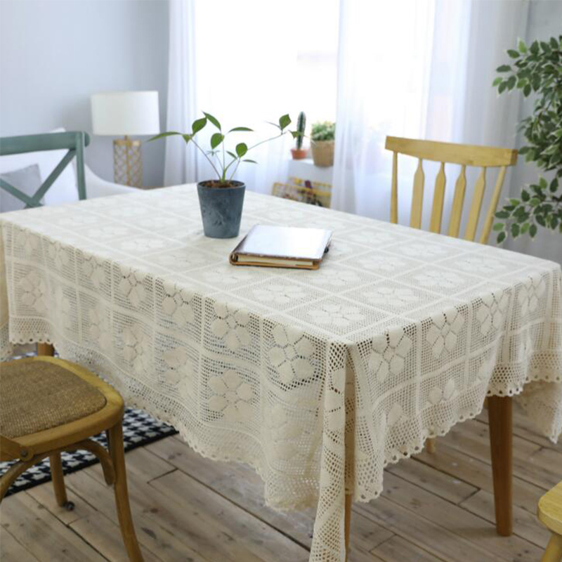Beige  America Country Knitted Crochet Tablecloth Hollow Cotton Rectangle Table
