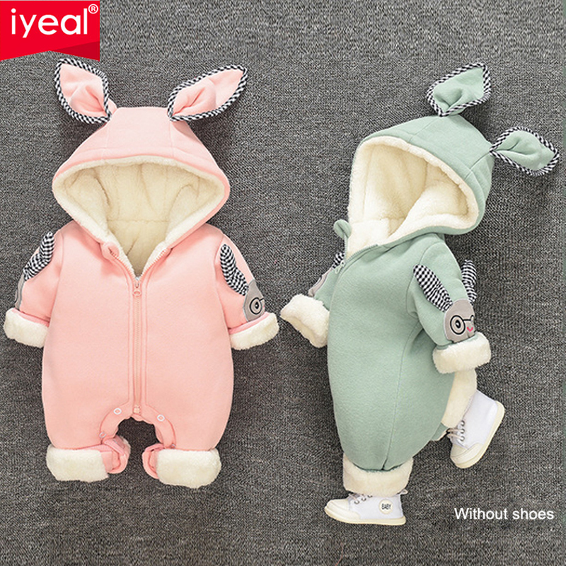 IYEAL Winter Baby Girls Boys Rompers Cute Bunny Hooded Ears Fleece Velvet Infant Clothing Children Newborn Clothes Warm Jumpsuit iyeal baby rompers warm soft flannel winter baby clothes cartoon animal 3d ears children girls jumpsuit newborn infant romper