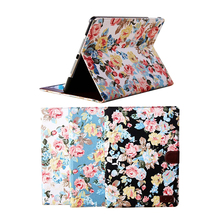 Flower Printing For iPad Air Matte Smart PU Leather Rotating Waves Stand Case For Apple iPad Air Cover Case