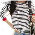 High Quality Fashion New Navy Style T Shirt Women O-Neck Long Sleeve Tops Black and White Striped Tshirt Women Tees