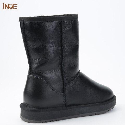 INOE Classic Men Mid-calf Sheepskin Leather Snow Boots Shearling Wool Fur Lined Winter Boots Keep Warm Shoes Waterproof Black Multan