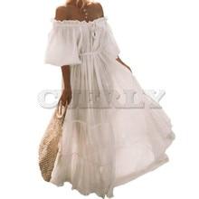 CUERLY Summer Boho White Sweet Retro Travel Beach Women Long Dresses Off Shoulder Pleated Lace Up Lantern Sleeve Elegant Dress