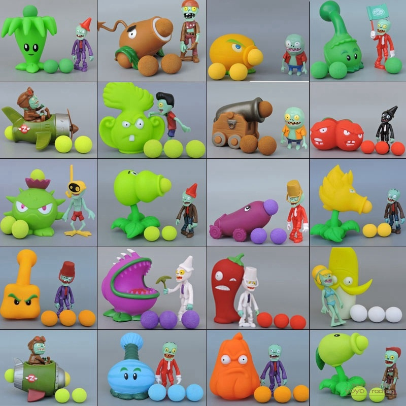1 Set 19 Styles Plants Vs.Zombies Action Figures Toy Launch Bullets Pea Game Model PVZ Plant + Zombies Toys for Children Gift image