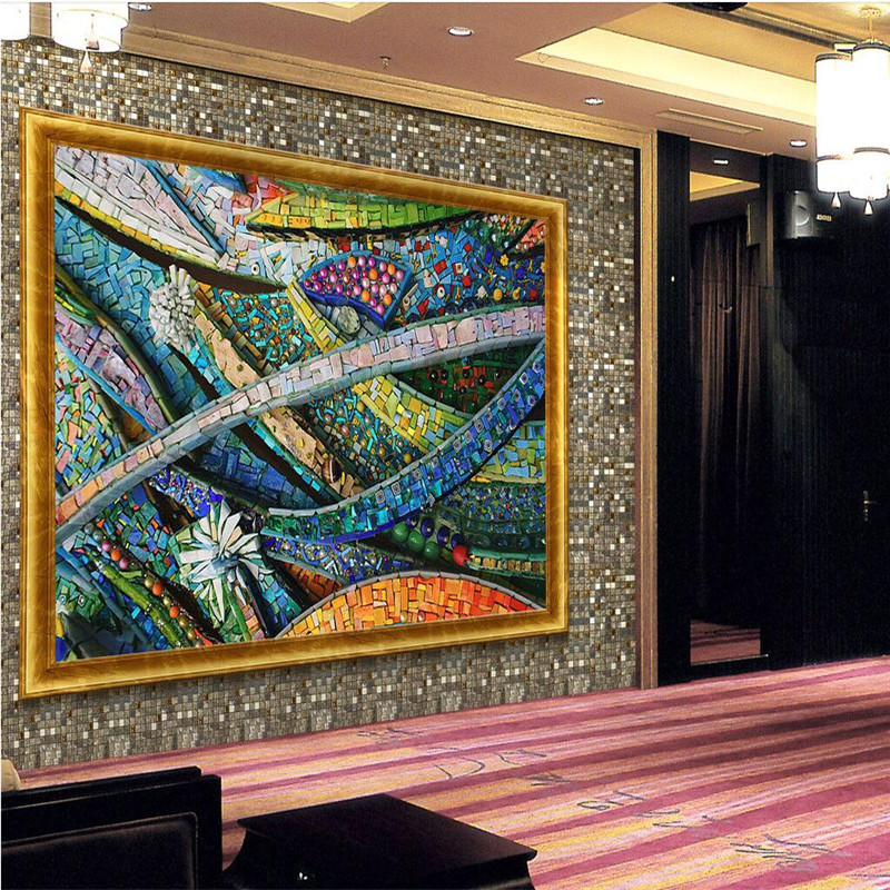 Mural Wallpapers Home Decor Photo Background Wall Paper Photography Color Lines Of Glass Mosaic