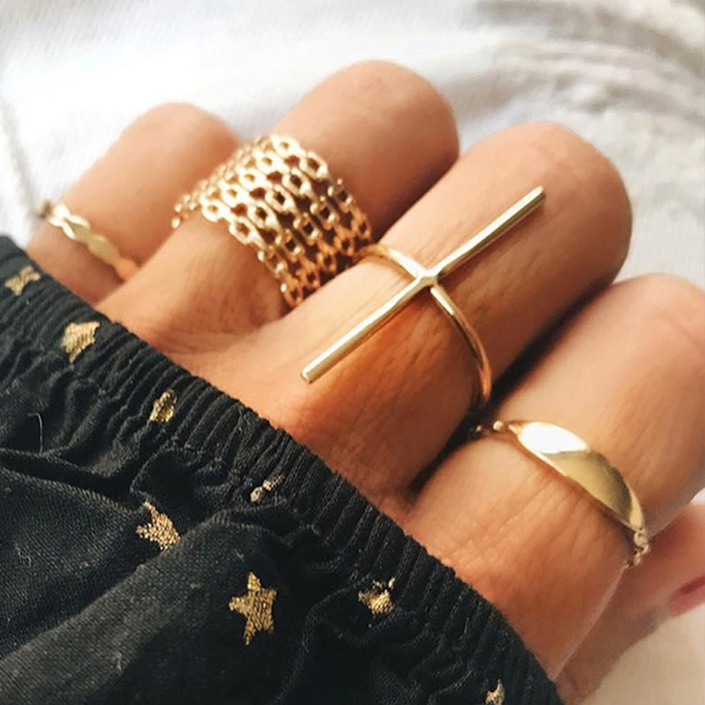 7pcs/set Punk Geometry Circular Hollow Cross Ring Gold Simple Midi Finger Ring Womens Clothing Accessories #274767 ...