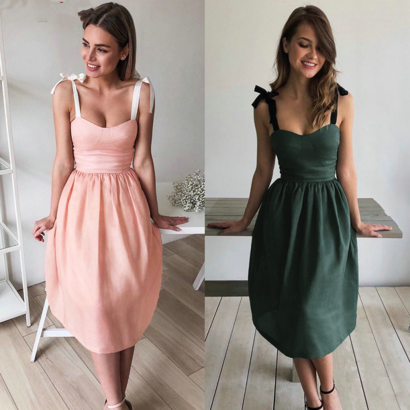 Womens Dress Elegant Solid Color Lace Up Bow Strap Fashion Sleeveless Backless Evening Party Midi Dress Summer Dress Womens 2019