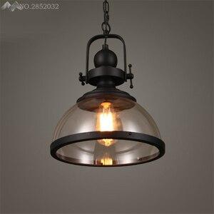 Image 2 - Amerikanischen Loft Retro Industrielle Anhänger Lichter Glas Hängen Lampe für Wohnzimmer Restaurant Bar Hause Beleuchtung Küche Leuchten Deco