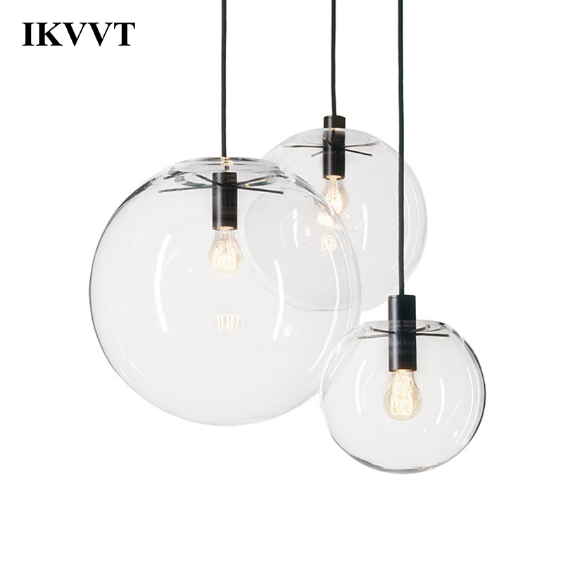 IKVVT Transparent Pendant Lights Glass Ball Indoor Lighting Restaurant Living Room Modern Decoration Lighting E27 220V
