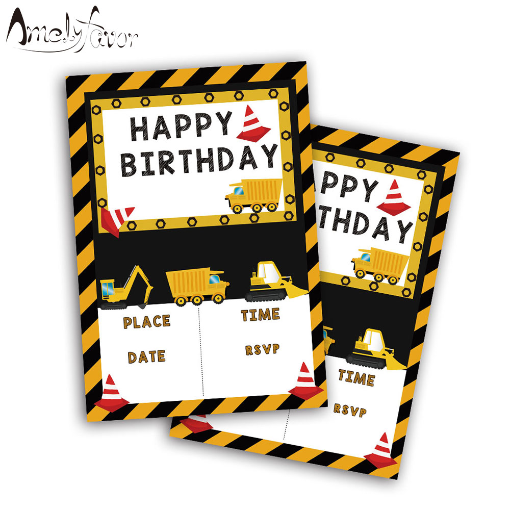 Hot Sale 20PCS Construction trucks Theme Invitations Card Birthday Boys Construction Bedroom Decorating Ideas Html on country sampler decorating ideas, boys' bedroom paint color ideas, teen boys bedroom ideas, cool little boys room ideas, little boy bedroom ideas, boys bedroom themes and ideas, boys spiderman bedroom ideas, boys bedroom decor, boys room paint ideas, toddler boy bedroom ideas, small boys bedroom ideas, small bedroom paint color ideas, cool boys bedroom ideas, rustic country decorating ideas, boys bedroom painting ideas,