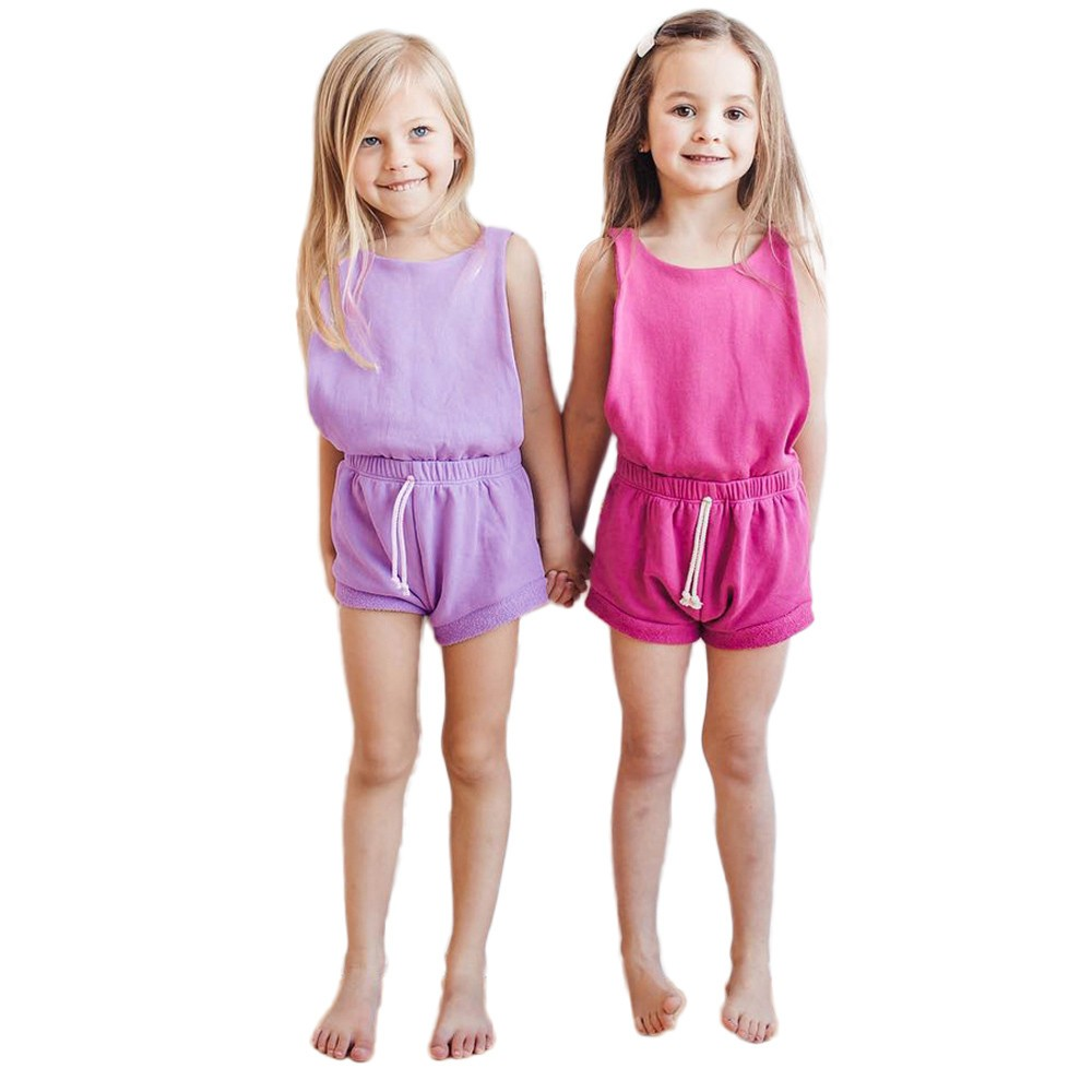 summer baby girl clothes Childrens Sleeveless Halter Solid Color Jumper Pants Little girl Dress Summer Y-NEW