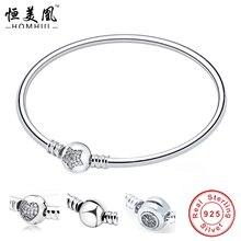 HOMHUL 100% 925 Sterling Silver charm pulsera para las mujeres amor de pareja estrella corazón pulsera Serpiente Pulseras y Brazaletes de La Joyería DIY