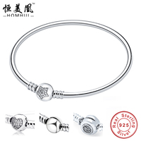 HOMHUL 100 925 Sterling Silver Charm Bracelet For Women Love Couple Star Heart Bracelet Snake Bracelet