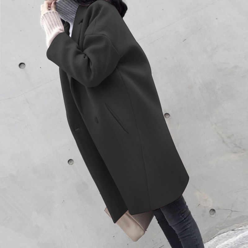 Japon Yünlü Ceket Kış Kadın Uzun Bölüm Kore Versiyonu Toka 2018 Yeni Yün Ceket Gevşek Öğrenci Tatlı Gelgit X379
