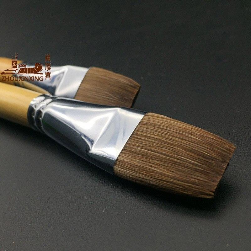 Zhouxinxing Watercolor Pen Brush Weasel Hair Flat Peak Painting Pen Wood Color Rod Long Short 2pcs Paint Acrylic Brush Painting