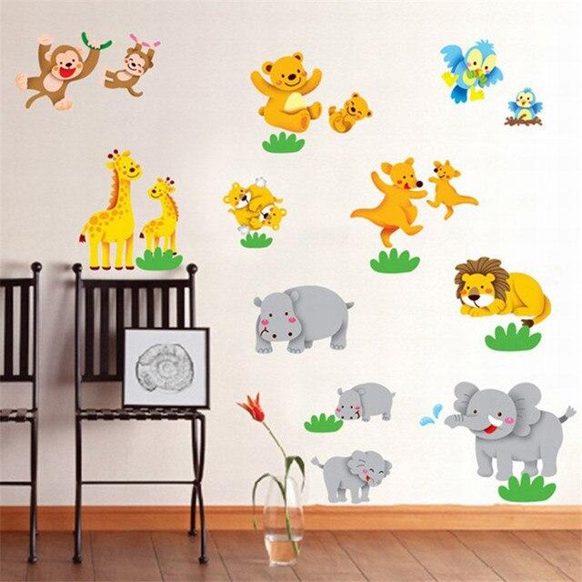 Tiere Spielen Wandaufkleber Fur Wohnzimmer Wandtattoo Kinder Vinyl