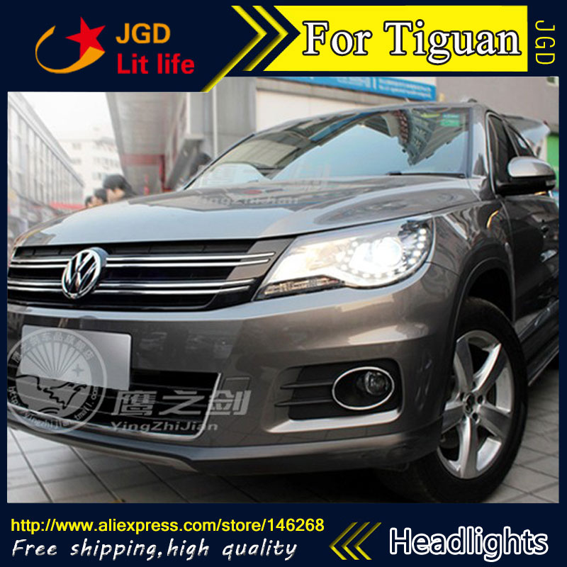 Free shipping ! Car styling LED HID Rio LED headlights Head Lamp case for VW Tiguan 2013 Bi-Xenon Lens low beam